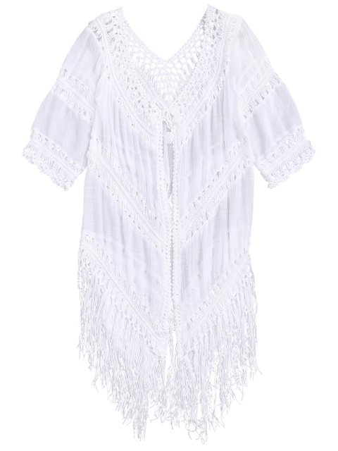 online Tassels Open Front Boho Beach Cover Up - WHITE ONE SIZE Mobile