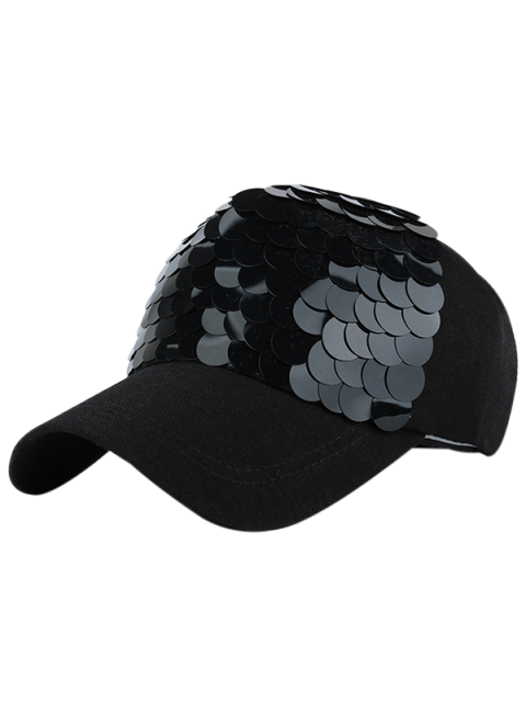 outfit Twinkling Fish Scale Design Baseball Hat - FULL BLACK  Mobile