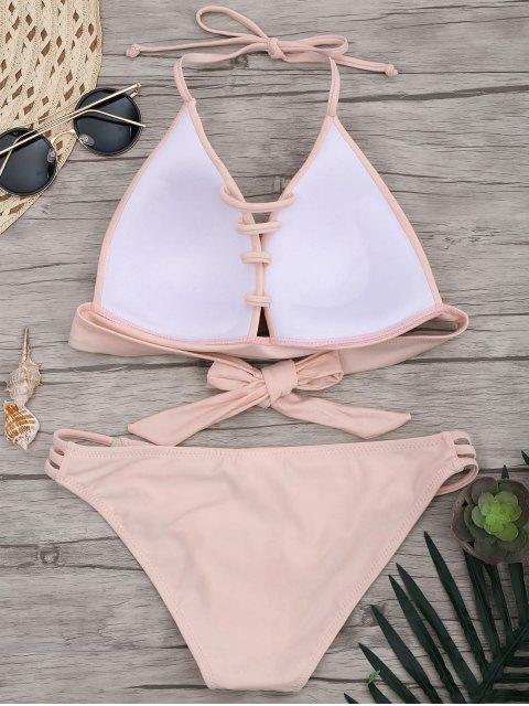 buy Fuller Bust Molded Cups Bikini Set - PINK M Mobile