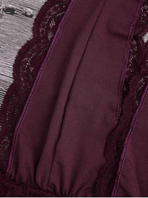 affordable Galloon Lace Plunge Halter Bra - BURGUNDY S Mobile