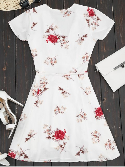 unique Plunge Cap Sleeve Floral Wrap Dress - WHITE L Mobile