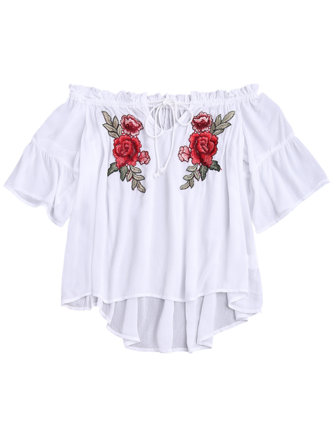 outfit Floral Embroidered Off Shoulder Top - WHITE S Mobile