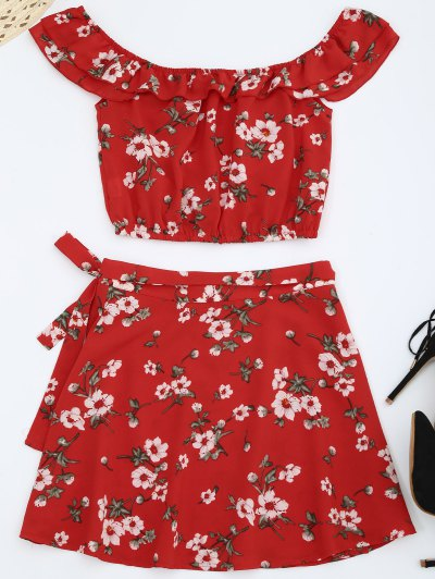 Off Shoulder Floral Top With Wrap Skirt - Red