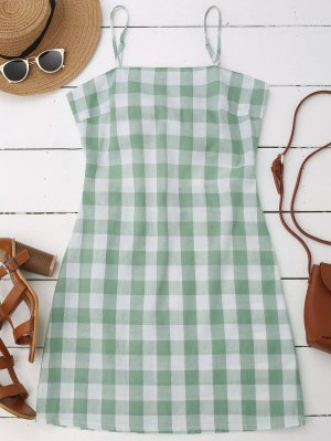 Slip Tie Back Plaid Dress