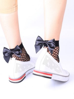 Fishnet Bowknot Embellished Anklet Socks