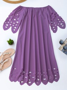 Off The Shoulder Flared Dress - Purple Xl