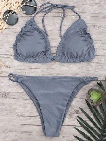 Frilled Padded String Bikini Set