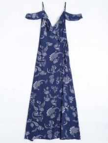 Cold Shoulder Paisley Ruffles Maxi Wrap Dress - Purplish Blue L