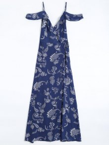 Cold Shoulder Paisley Ruffles Maxi Wrap Dress