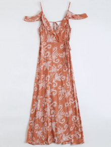 Vestido Largo Con Volantes Maxley - Rojo, Naranja, L