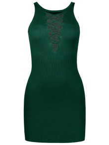 Sleeveless Lace Up Knitted Bodycon Dress
