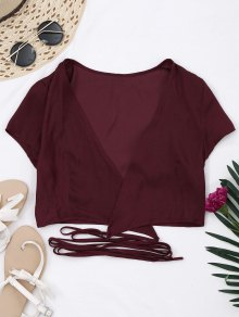 Criss Cross Cropped Wrap Top - Wine Red