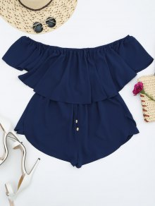 Off Shoulder Drawstring Waist Chiffon Romper - Cadetblue S