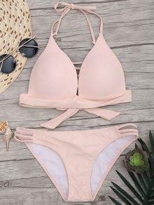 Fuller Bust Molded Cups Bikini Set - Pink