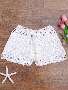 Lace Up Crochet Beach Swim Shorts - White S