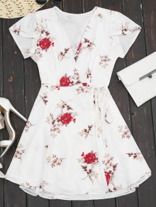 Plunge Cap Sleeve Floral Wrap Dress - White