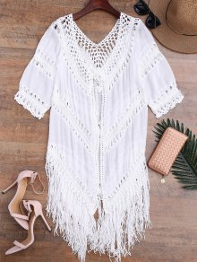 Tassels Open Front Boho Beach Cover Up - White