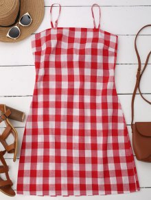 Slip Tie Back Plaid Dress - Red M