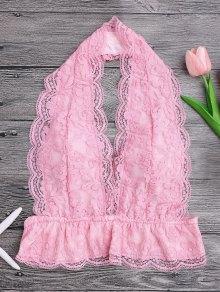 Galloon Lace Plunge Halter Bra - Pink M