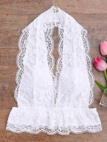 Galloon Lace Plunge Halter Bra - White L