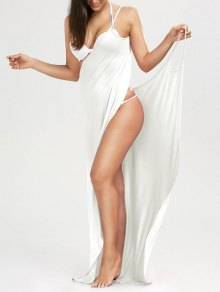 Beach Maxi Wrap Slip Dress - White S