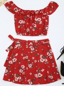 Off Shoulder Floral Top With Wrap Skirt - Red S