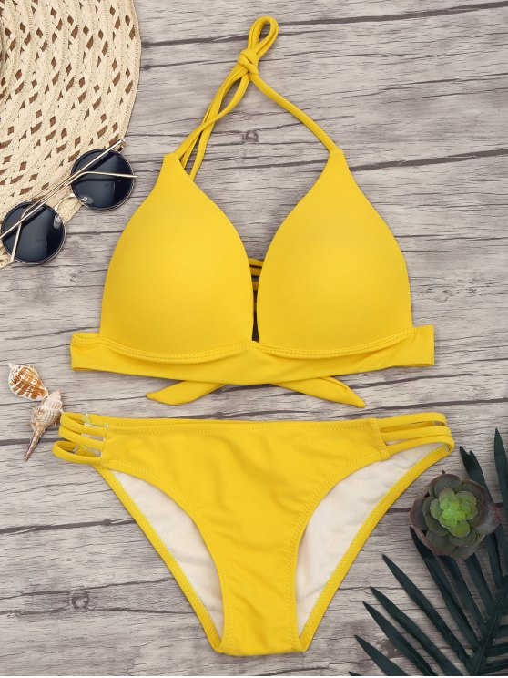 chic Fuller Bust Molded Cups Bikini Set - YELLOW L