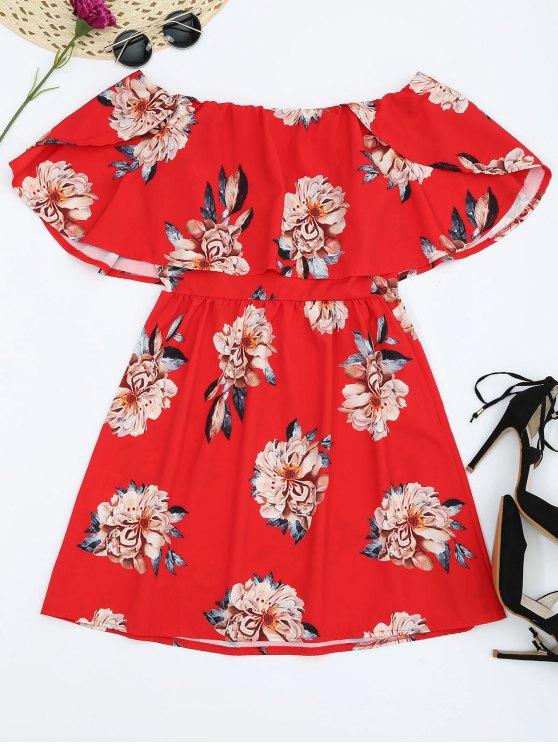 best Floral Popover Off The Shoulder Dress - RED M
