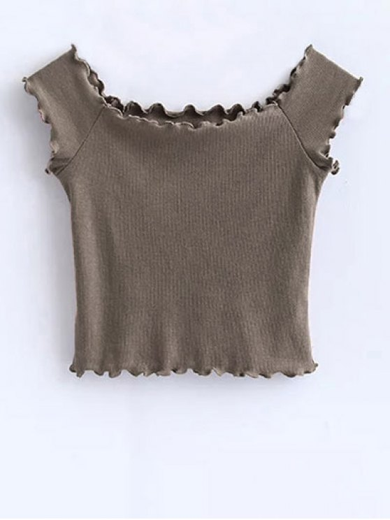 Off Shoulder Ruffles Crop Top - KHAKI S Mobile