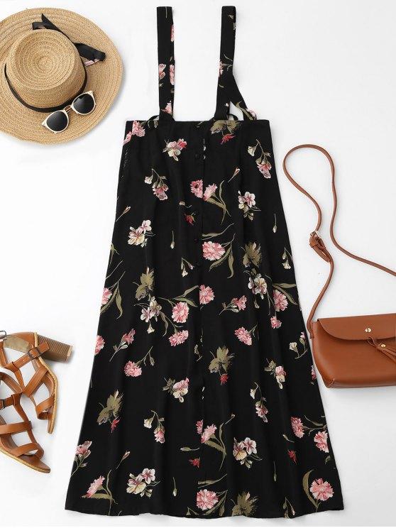 best Floral Maxi Suspender Skirt - FLORAL S