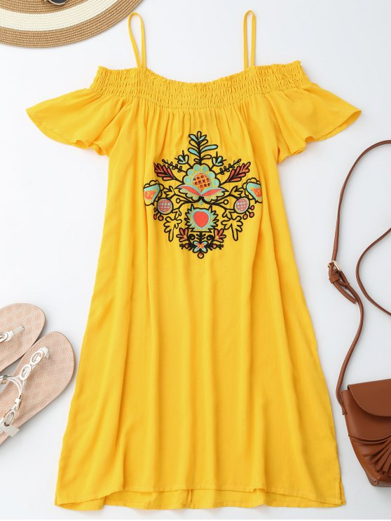 affordable Floral Embroidered Cold Shoulder Mini Dress - YELLOW M