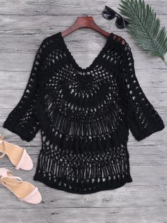 See-Through Crochet Cover Up Top - Black