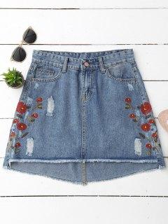 Cutoffs Floral Embroidered Denim Skirt - Denim Blue L