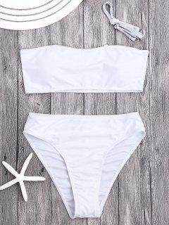 Padded High Cut Bandeau Bikini Set - White M