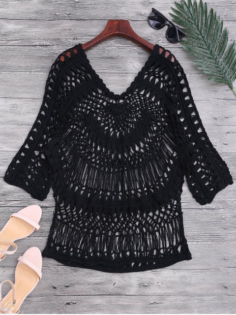 unique See-Through Crochet Cover Up Top - BLACK ONE SIZE Mobile