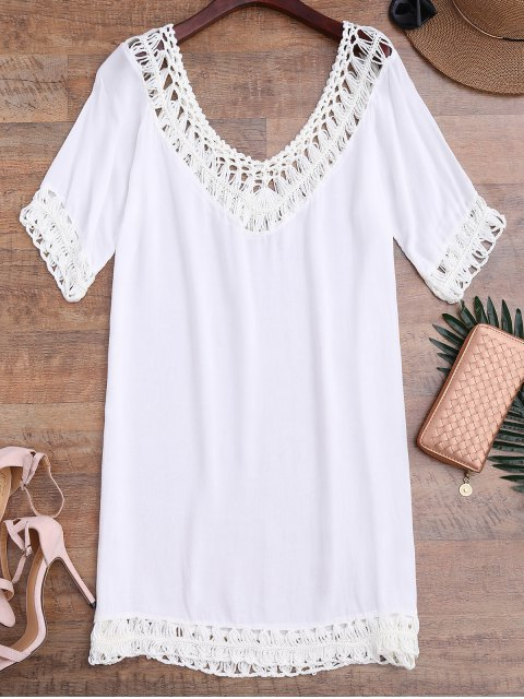 affordable Relaxed Fit Beach Cover Up Dress - WHITE ONE SIZE Mobile