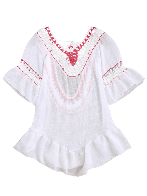 buy Crochet Open Back Beach Cover Up Dress - WHITE ONE SIZE Mobile