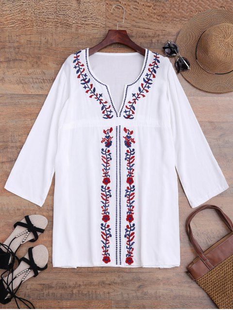womens Embroidered Beach Cover Up Smock Dress - WHITE ONE SIZE Mobile