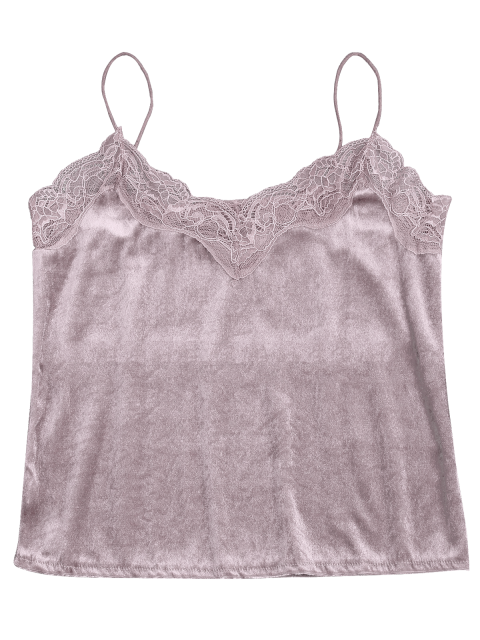 ladies Lace Velvet Camisole Lounge Top - PINK S Mobile