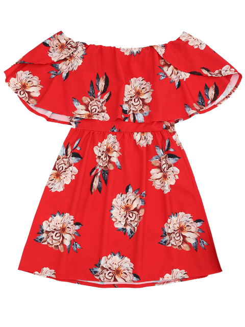 lady Floral Popover Off The Shoulder Dress - RED S Mobile