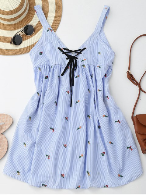 buy Embroidered Stripes Lace Up Casual Dress - STRIPE M Mobile