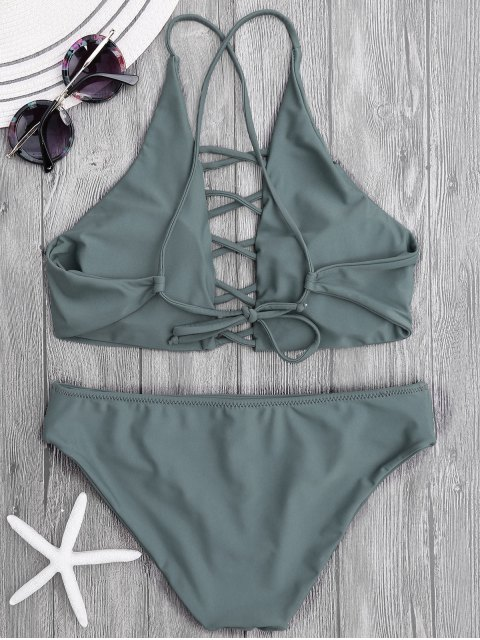 buy Tie Back Crisscross Strappy Bikini Set - SLATEGRAY M Mobile