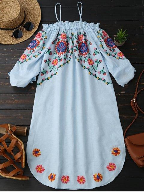 online Embroidered Cold Shoulder Casual Dress - LIGHT BLUE L Mobile