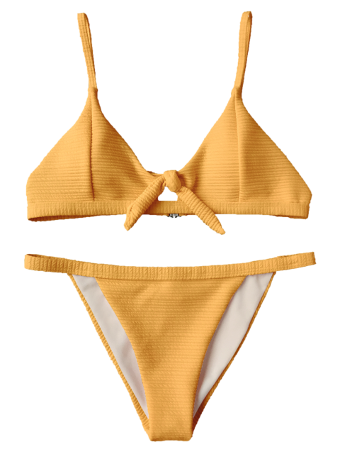chic Front Tied Textured Thong Bikini Set - YELLOW S Mobile