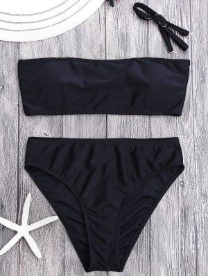 Padded High Cut Bandeau Bikini Set - Black