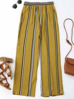 Pantalon à Pattes Larges à Rayures Taille Haute