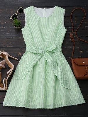 Sleeveless Striped Bowknot Dress - White And Green