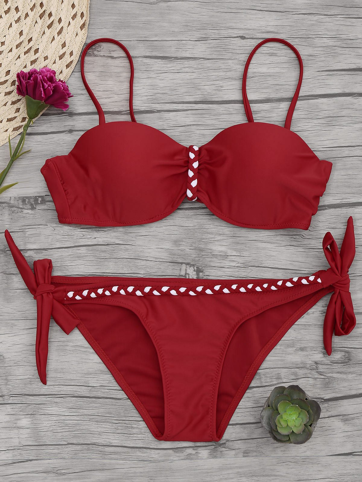 Underwire Braided Molded Cup Bikini Set 213632902