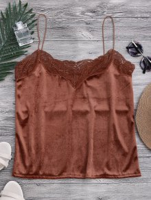 Lace Velvet Camisole Lounge Top - Dark Auburn S