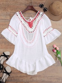Crochet Open Back Beach Cover Up Dress